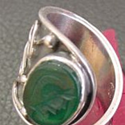 Chrysoprase Intaglio Mounted In Very Special Hand Designed Sterling Ring