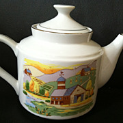 Vintage Japan Teapot White with Cute Farm Picture