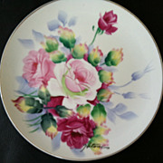 Hand Painted Rose Made in Japan Plate signed Hitomi