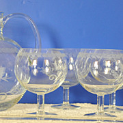 Tiffany & Co Crystal Lovebirds pitcher and goblets set