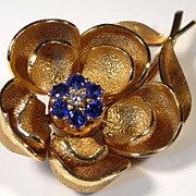 SALE Diamond Sapphire 14K Gold Mechanical Flower Brooch - SUPERB Vintage!