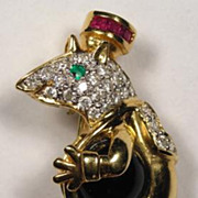 SOLD KING MOUSE 14K Gold Diamond Black Onyx Vintage Brooch - Superb Piece!