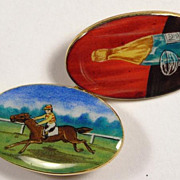 "Pair of Vintage 18K Yellow Gold and Polychrome Enamel ""Four Vices"" Cufflinks"