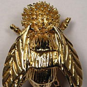Pair of 2 14K Gold Vintage Insect Fly Brooch Pins - Superb Couple!
