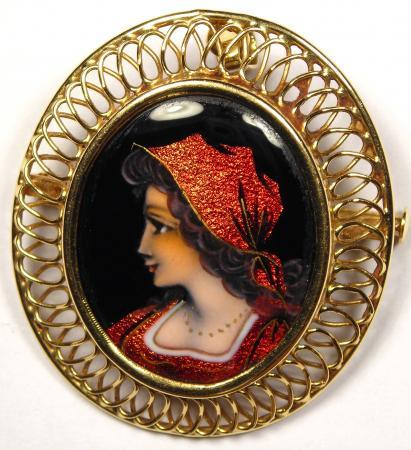 Antique Signed Beauty Lady Portrait Pin - 18K Gold and Enamel - Superb!