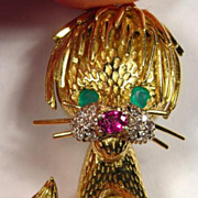 Lion Cub 18K Gold Vintage Cat Brooch - Emerald, Ruby, and Diamond Beauty!