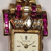 Retro 14K Yellow Gold, Ruby and Diamond Wristwatch - Glycine - Inscription from 1943!