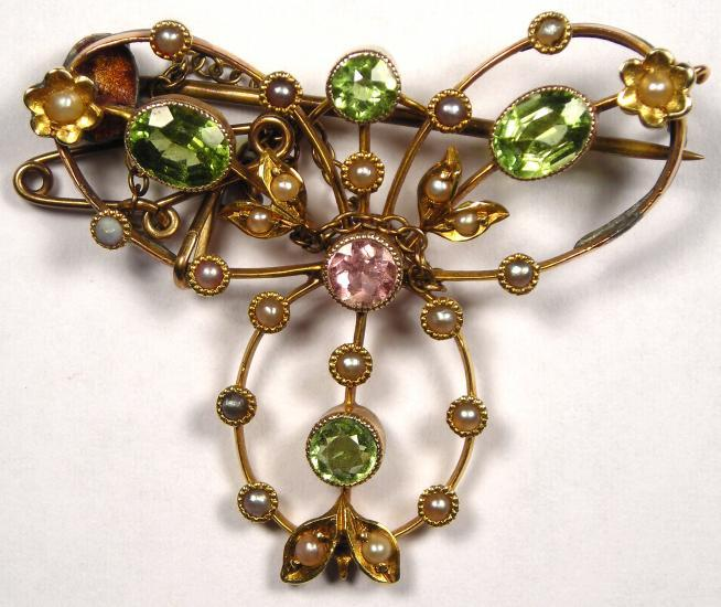 Edwardian Amethyst Seed Pearl Peridot 9CT Gold Antique Suffragette Brooch!