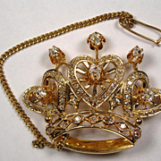 SALE SUPERB Crown Diamond and 14K Gold Vintage Brooch - ROYAL Design!