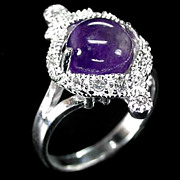 SALE Appealing silver Ring with Natural Amethyst & White Topaz, Size 7.5