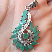 REDUCED Delightful Silver Pendant with Natural Green Colombian Emeralds