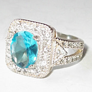 REDUCED Sublime Silver Cocktail Ring with Blue Topaz, size 8