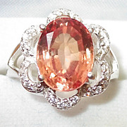 REDUCED Delectable Silver ring with Orange color Morganite, Size 7.5