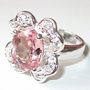 REDUCED Fabulous Silver Ring with Natural Morganite, Size 7