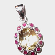 SALE Adorable Silver Pendant with Lemon Citrine & Red Rubies