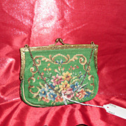 Green Needle Point Clutch Purse with Flowers
