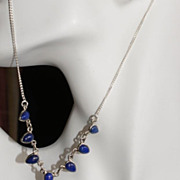 SOLD 925 silver Lapiz Lazuli necklace and earrings set . - Red Tag Sale Item