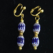 SOLD Vintage gold-plated Venetian glass trade beads, clip-on earrings.