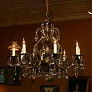 SALE Spanish Brass and Crystal Chandelier