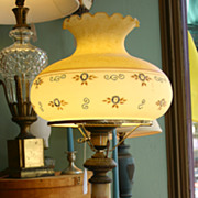 SALE Large Marble and Bronze Lamp with Painted Glass Shade