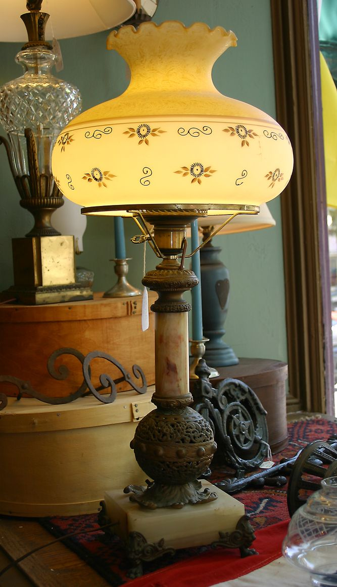 Large Marble and Bronze Lamp with Painted Glass Shade