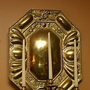 REDUCED Dutch repousse brass octagonal wall sconces with large ornate reflective backs