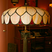 Beautiful Slag Glass Lamp Circa 1900