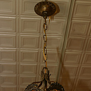 1930's Brass and glass hallway Lantern