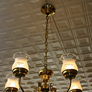 Brass 5 arm chandelier