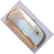 Silver Card Case-Sapphire Spider and Web