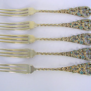 Set of 5 Sterling & Enamel Strawberry Forks c.1895
