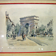 Herbelot Paris signed lithograph L'Arc de Triomphe / The Arch of Triumph France