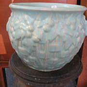 Early McCoy Pottery Glazed Powder Blue Basket Berries Leaves