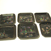 SOLD SIX Signed Antique Chinese Black Lacquer Dish w/Abalone Pearl inlays + Stand