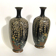 Antique Pair of Meiji Japanese Hexagonal Cloisonne Vases- Exquisite Floral Renderings