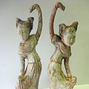 Pair of Ancient Chinese Han Pottery Terra Cotta Clay Dancer Lady Figurines