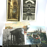 6 Int'l 1940's Postcards STAMPED to WELLESLEY College from Paris Italy etc.