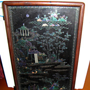 SOLD Antique Chinese Black Lacquer framed ART w/Exquisite Abalone Pearl inlay detail