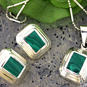 Taxco .925 Silver Malachite Stone necklace with earrings