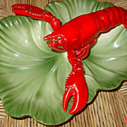 Vintage Brad Keeler Three Section Lobster Pottery Serving Tray