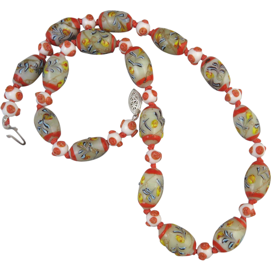 vintage venetian glass bead necklace 23 quot from