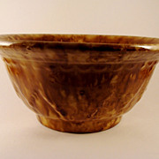 Antique Bennington Rockingham Glaze Large Bowl with Leaf / Flame Decoration