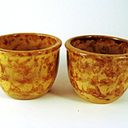 Pair Bennington Rockingham Glaze Custard Cups
