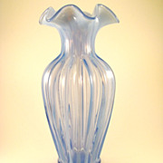 SOLD Gorgeous Lavender Optic Ruffled Fenton Glass Vase