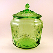 SALE PENDING Depression Royal Lace Green Glass Cookie Jar & Lid