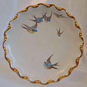 SOLD Antique~Limoges Porcelain  ~ Hand Painted Plate ~ With BlueBirds ~Signed