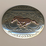 SALE Vintage Signed Mustang Horse Galloping Figural Nickel Silver & Copper Belt Buckle
