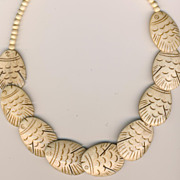 SALE Vintage Carved Bone Necklace - Fish!