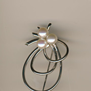 Birks Sterling Silver Brooch/Pin with Genuine Cultured Pearls