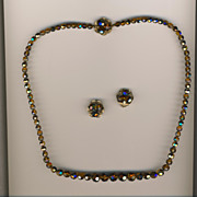 SALE Stunning Vintage Sherman Dark Cinnamon & Amber  AB Necklace & Earrings